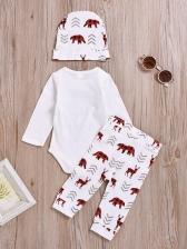 Letter Elk Printed Hats Baby Clothing Sets