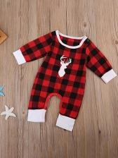 Stylish Plaid Long Sleeve Baby Sleepsuits