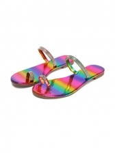 Colorful Rhinestone Round Toe Slides Slippers