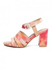Versatile Contrast Color Chunky Heel Ladies Sandal