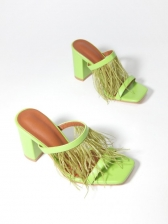 Chic Feather Chunky Heel Square Toe Ladies Slippers