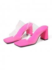 Versatile PVC Square Toe Chunky Heel Ladies Slippers