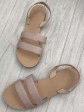 Glitter Round Toe Flat Womens Sandals
