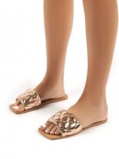 Square Toe Slip On Flat Ladies Slippers