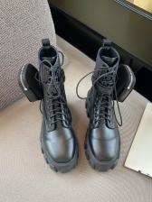 Chic Round Toe Non-Slip Combat Boots