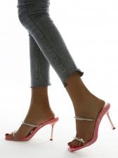 Euro Square Toe Rhinestone Heeled Ladies Slippers