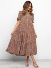 Loose Leopard Printed Puff Short Sleeve Maxi Dresses