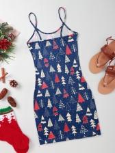 Christmas Trees Snow Camisole Ladies Dress
