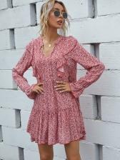Euro Ditsy Printed Women Long Sleeve Dress