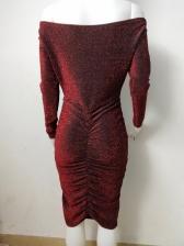 Long Sleeve Off The Shoulder Dress