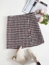 Stylish Houndstooth Plus Size Women Skirt