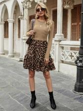 Vintage Leopard Patchwork Women Long Sleeve Dress