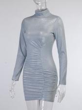 Slim Sexy Mock Neck Long Sleeve Bodycon Dress