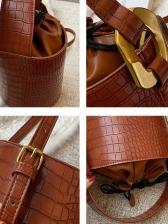 Alligator Print Vintage Fashion Solid Bucket Bag