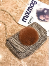 Vintage Plaid Fur Dating Square Shoulder Bag
