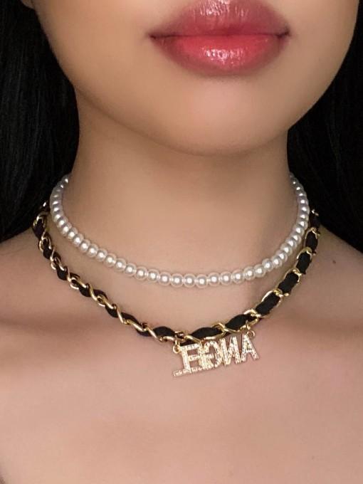 Simple Letter Rhinestone Pendant Necklace