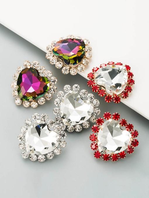 Stylish Street Snap Heart Rhinestone Earrings