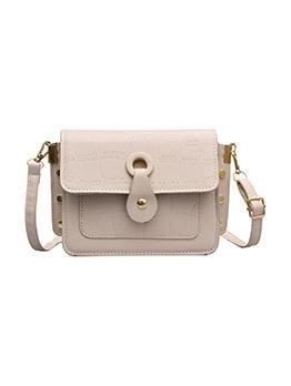Textured Pure Color Leather Shoulder Bag