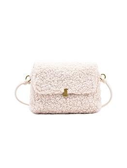 Pure Color Lambswool Large Shoulder Bag