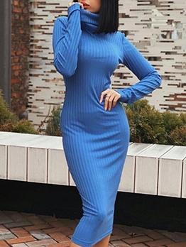 Winter New Solid High Neck Long Sleeve Dress