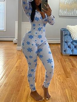 Snowflake Print Hooded Pajama Jumpsuit