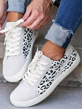 Leopard Printed Casual Canvas Sneakers For Women