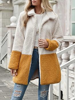Turndown Neck Colorblock Faux Fur Long Winter Coat