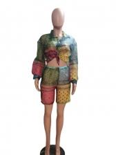 Contrast Color Paisley Print Women Short Set