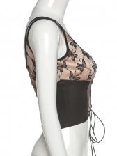 Butterfly Print Cross Belt Crop Camisole Fashion