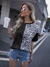 Leopard Print Short Sleeve T-Shirt Casual