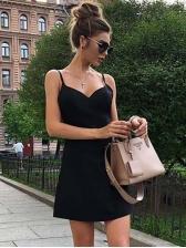 Euro Style V Neck Pure Color A-Line Dress