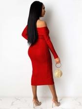 Sexy Deep V Neck Split Hem Party Dress Solid