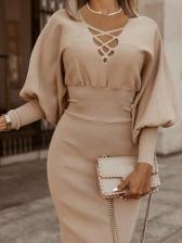 British Style Lantern Sleeve Bodycon Knitted Dress