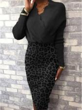 Leopard Print Long Sleeve Knitted Dress V Neck