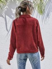 Pockets Corduroy Jacket Long Sleeve