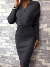 Pure Color V Neck Long Sleeve Bodycon Dress