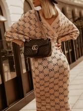 Lantern Sleeve Print V Neck Knee Length Dress