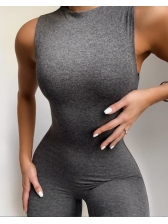 Sport Style Sleeveless Solid Color Bodycon Jumpsuit