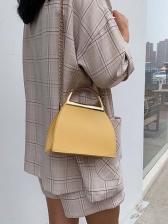 Metal Handle Hasp Pure Color Chain Shoulder Bag