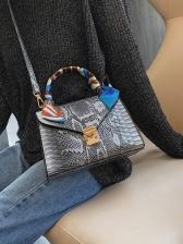 Snake Print Silk Scarf Handle Crossbody Shoulder Bag
