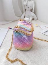 Colorful Rhombic Lattice Bowknot Print Chain Shoulder Bag