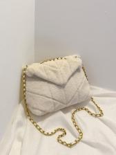 Pure Color Large Plush Shoulder Bag