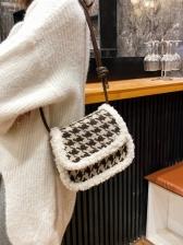 Lambswool Trim Threaded Shoulder Bags For Women