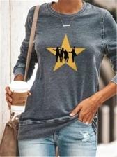 Casual Star Pattern Long Sleeve Sweatshirts For Women