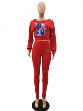 Fashion Printed Crop Top And Pant Set