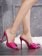 Euro Bowknot Pointed Toe Heel Ladies Slippers
