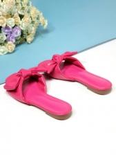 Cute Bowknot Decor Square Toe Slipper Shoes