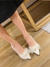 How Sale Gauze Bowknot High Heel Shoes