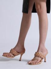 Stylish Square Toe Woven Design High Heel Slippers