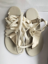 Summer Round Toe Lace-Up Flat Sandals